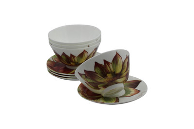 Set of 4 Tretchikoff Lotus Flower Bowls & Saucers
