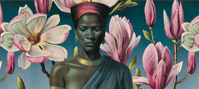 "Tretchikoff ""Zulu Girl & Pink Magnolias"" Wallpaper"