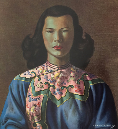 Image: Tretchikoff 'Chinese Girl Blue Jacket' canvas print