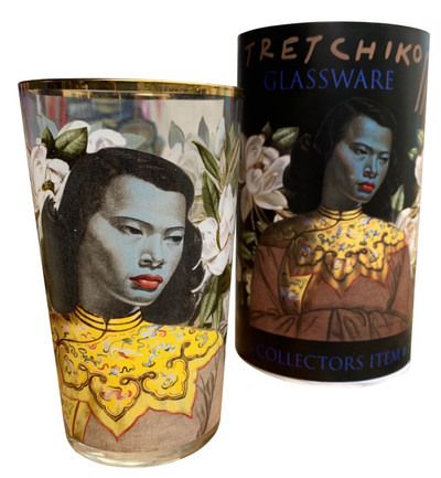 Tretchikoff Chinese Girl & Magnolias Gift Glass