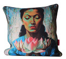 Cushion Cover Lady with Lotus Linen 60x60cm