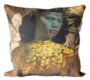 Cushion Cover Chinese Girl & Magnolias Linen 60x60cm