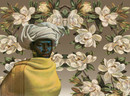 Tretchikoff Swazi Girl & Magnolias Wallpaper