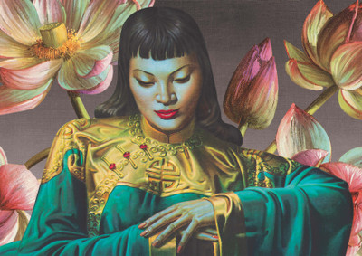 Tretchikoff 'Lady from Orient & Lotus Flowers' Canvas Print
