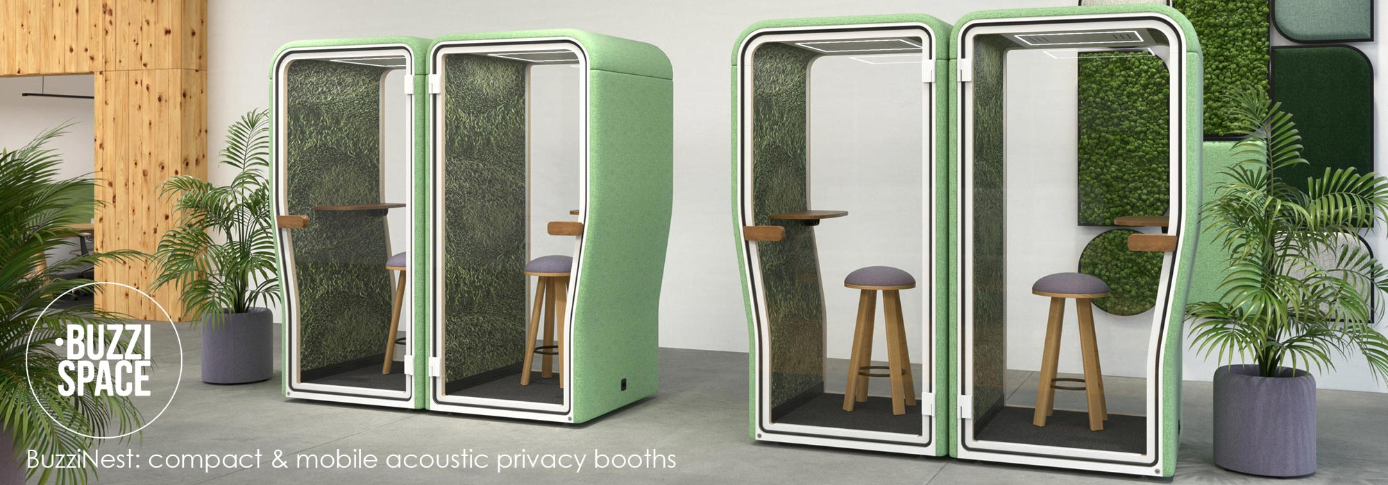 BuzziSpace BuzziNest compact mobile acoustic privacy booths