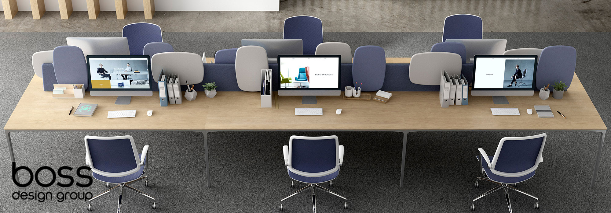 Boss Design Atom Desking & Trinetic Task Chairs