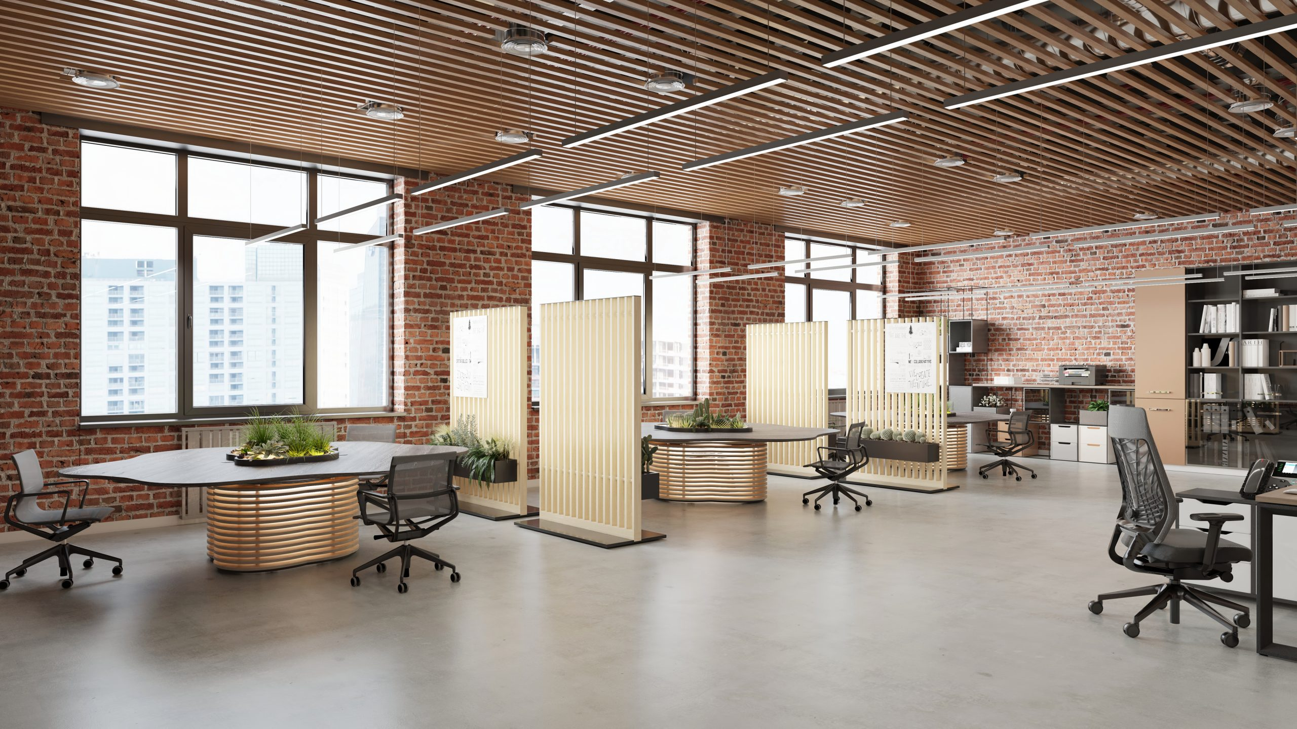 HK Designs Spaces Collection - Space 2 Create collaboration meeting tables & Space 2 Occupy mobile screens - open office view