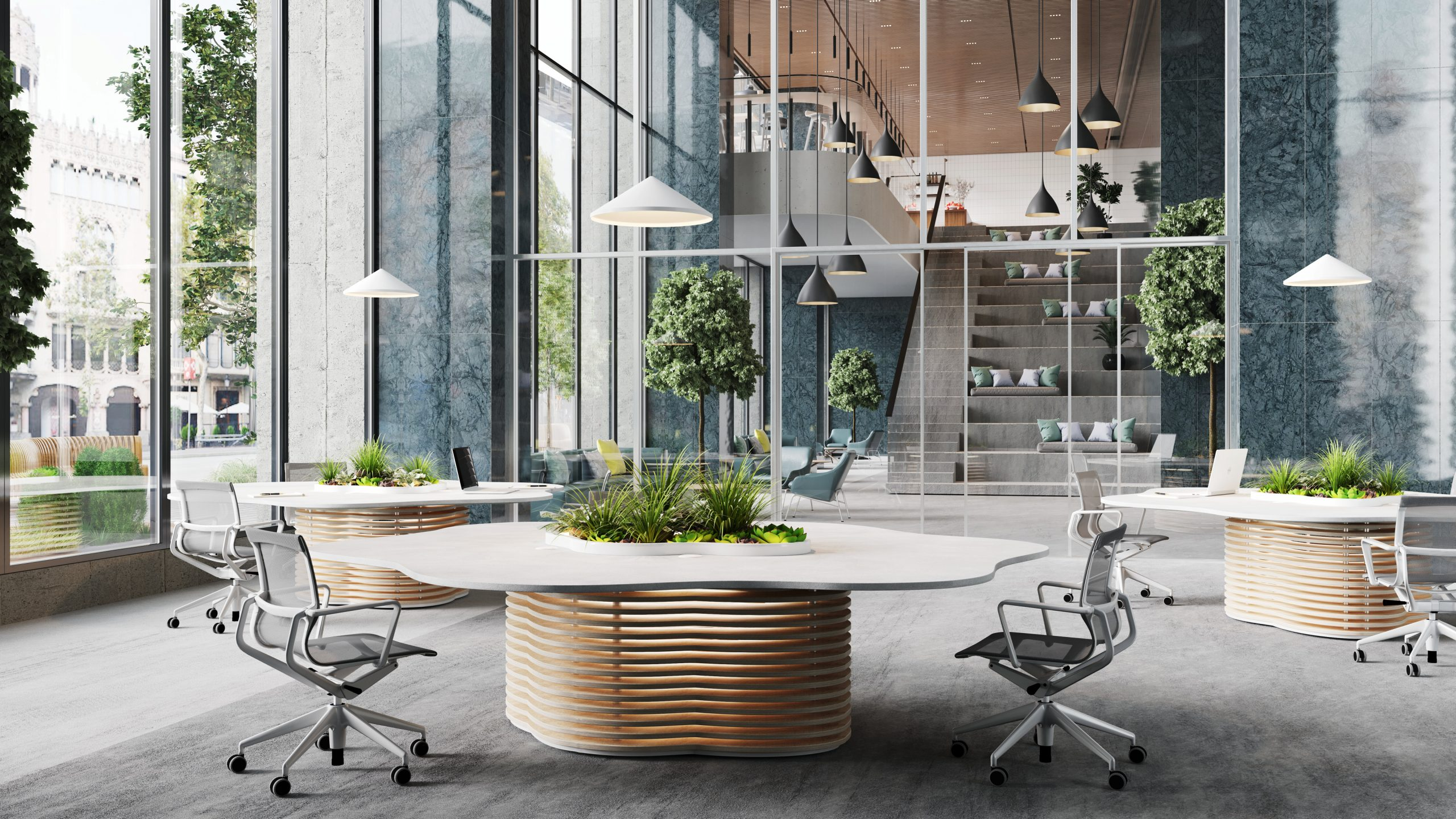 HK Designs Spaces Collection - Space 2 Create collaboration meeting table open office view