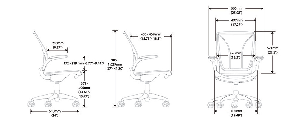 Humanscale Diffrient World Chair Dimensions