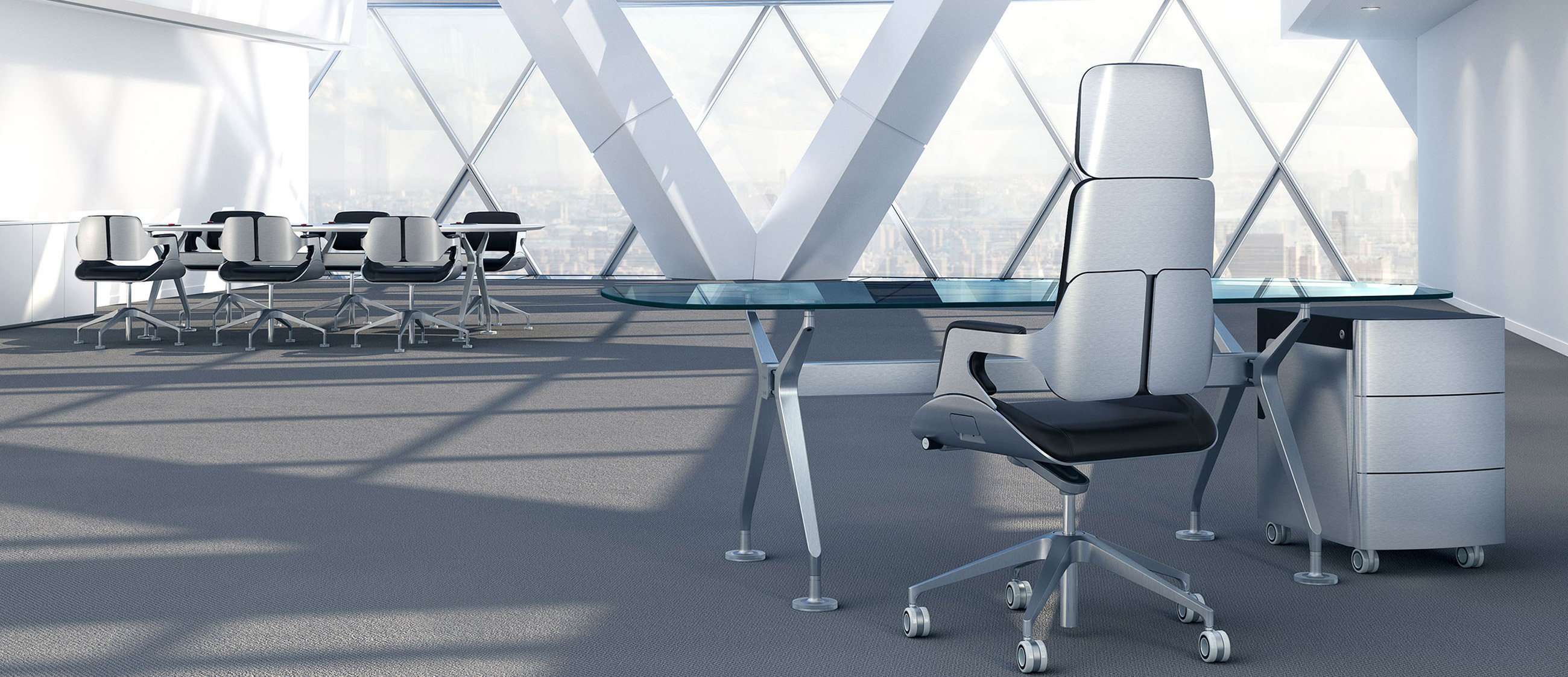 Interstuhl Silver Executive Highback Office Chair 362S Brushed Aluminium with Matching Silver Table In Situ