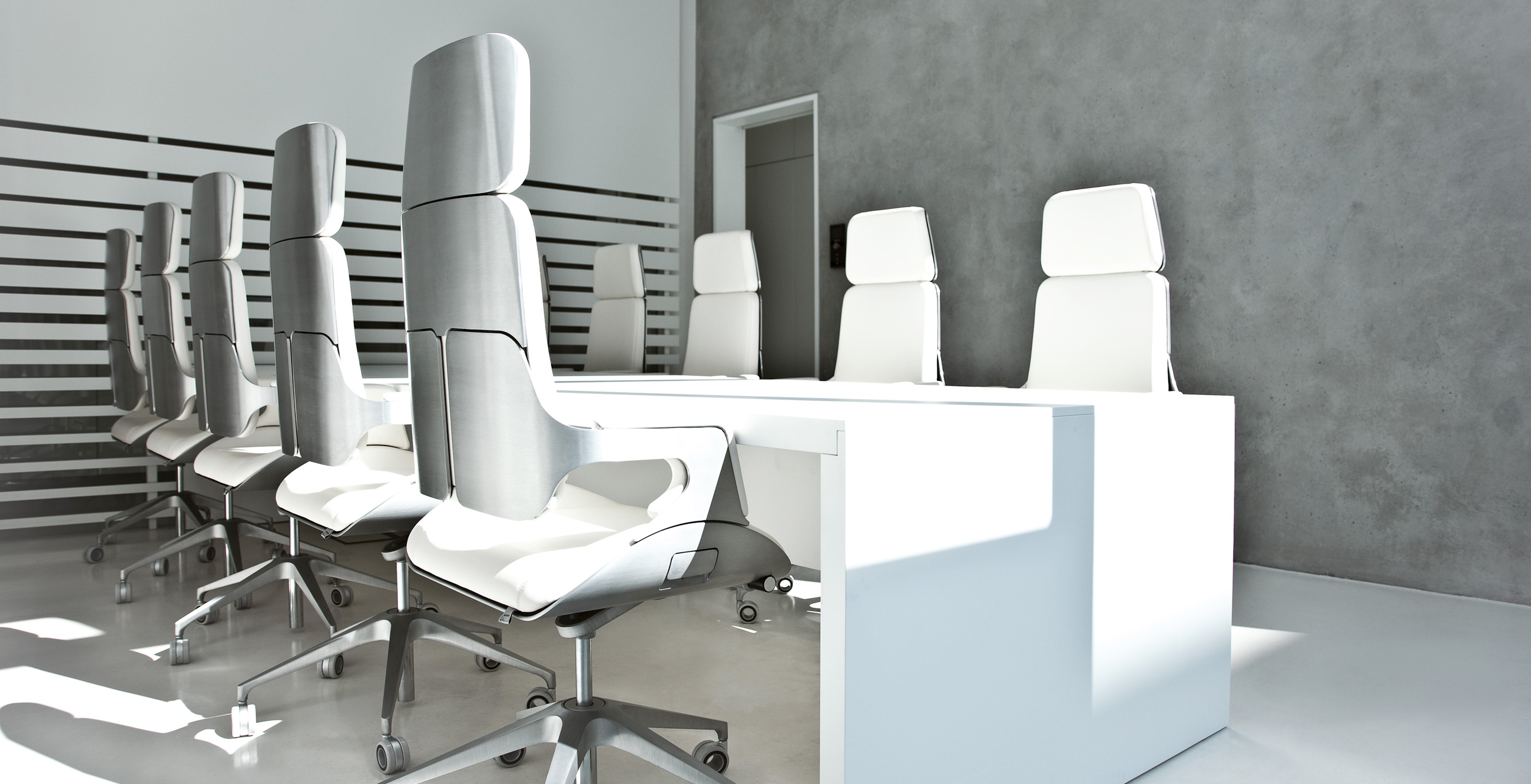 Interstuhl Silver Executive Highback Office Chair 362S Brushed Aluminium In Situ