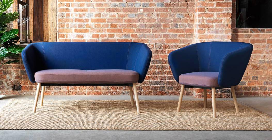 Ocee Design Billo Armchair & 2 Seater Sofa with Wooden Legs