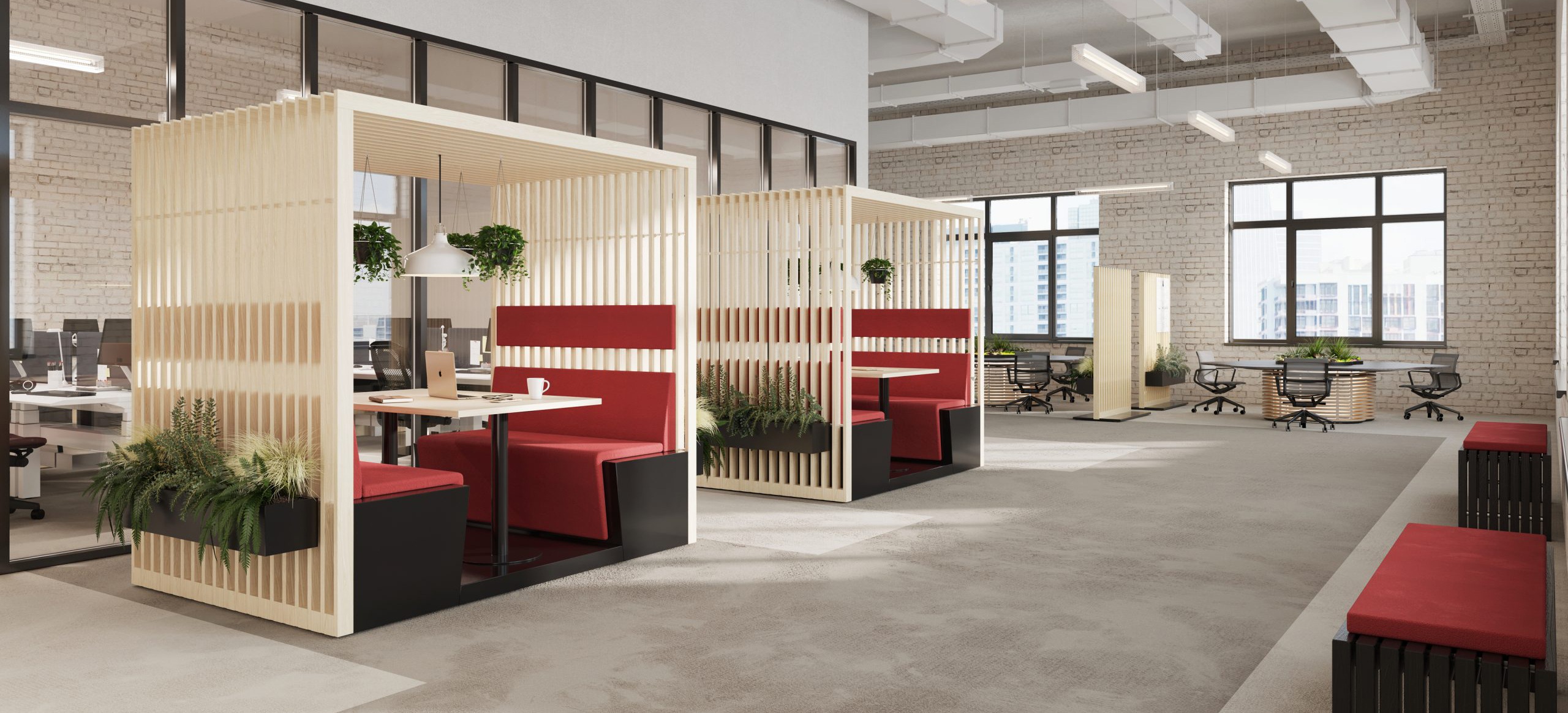 HK Designs Spaces Collection - Space 4 Four wooden slat breakout meeting booth with plants office view