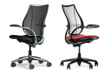 Humanscale Liberty Chair shown with polished frame and adjustable arms