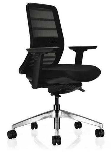 Koplus Tonique Task Chair - Black Frame - Black Mesh - Black Fabric - Polished Aluminium Base