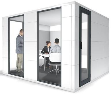 Studiobricks conference pod in white laminate