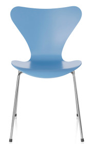 Fritz Hansen Series 7 Chair, 4 Leg Trieste Blue Lacquered
