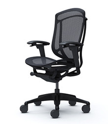 Okamura Contessa 2 Task Chair - Black Mesh Backrest & Black Mesh Seat / Black Frame / Black Body