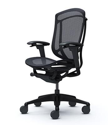 Okamura Contessa 2 Task Chair - Black Mesh Backrest & Black Mesh Seat / Black Frame / Black Body
