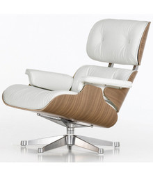 Vitra Eames Lounge Chair and Ottoman - White Pigmented Walnut