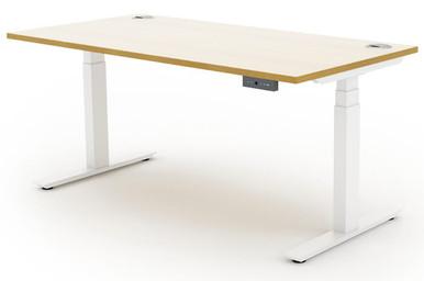 Quick Ship Sit Stand Desks - White Frame with White Top Oak Edge
