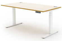 Quick Ship Sit Stand Desks - White Frame with White Top Oak Edge