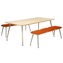 Cambridge Park Reach Raw Table With Benches & Seat Pads