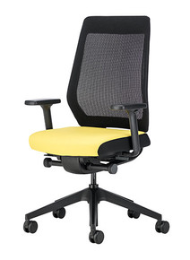 Interstuhl Joyce IS3 Mesh Back Task Chair JC211 / Black Base / Black Plastic Backrest / With Arms - Front Angle View