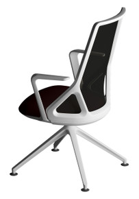 Edge Design Cicero Visitor Chair White Frame & Base, Black Seat & Mesh Backrest
