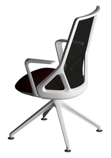 Edge Design Cicero Visitor Chair White Frame & Base, Black Seat & Mesh Backrest