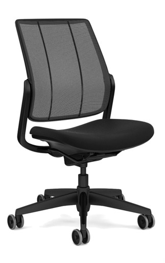 humanscale smart ocean chair black frame with black aluminium trim - black monofilament stripe mesh - black vellum fabric seat - armless - front angle view