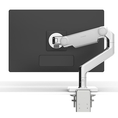 Humanscale M8.1 Monitor Arm, Single Monitor Setup, Polished with White Trim
