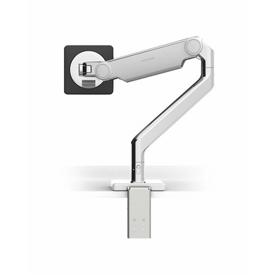Humanscale M2.1 Monitor Arm, Polished Aluminium with White Trim