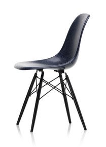 Vitra Eames Fiberglass DSW Chair Navy Blue - Black Maple Side View
