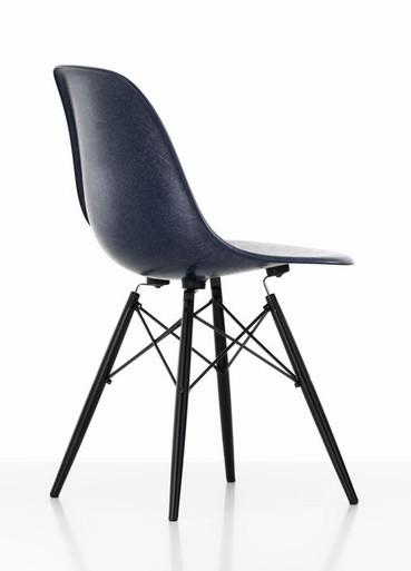 Vitra Eames Fiberglass DSW Chair Navy Blue - Black Maple Rear Angle View