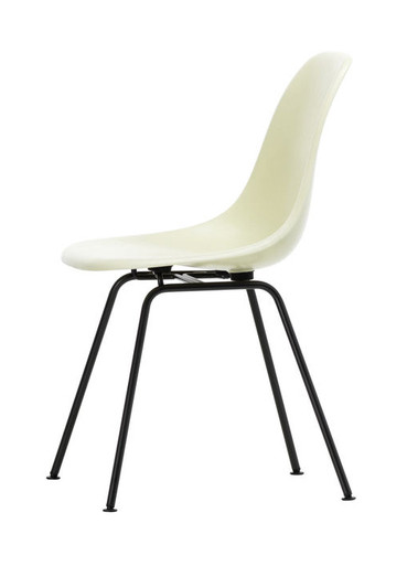 Vitra Eames Fiberglass DSX Chair Parchment Basic Dark Powder Coated - Side View