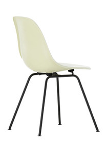 Vitra Eames Fiberglass DSX Chair Parchment Basic Dark Powder Coated - Rear Angle View