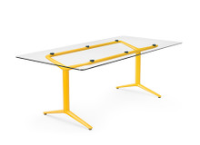 Boss Design ACDC Static Height Single Desk - Glass Top Coloured Frame