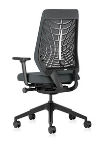 Interstuhl Joyce IS3 Mesh Back Task Chair JC216 With FlexGrid / Black Base / Black Plastic Backrest / With Arms - Rear Angle View