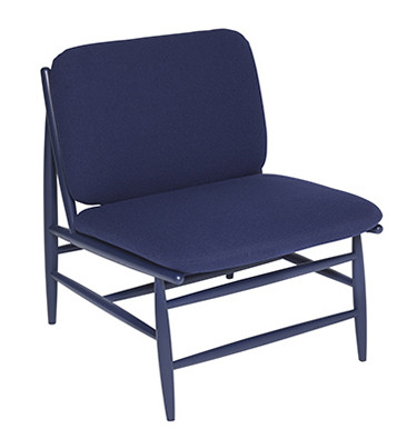 Ercol Von Chair Blue Fabric - Front Angle View