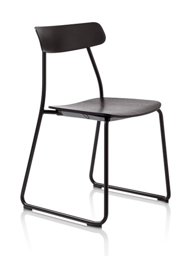 Orangebox Acorn Stacking Chair Black Frame Black Stained Oak Veneer Seat - Front Angle View