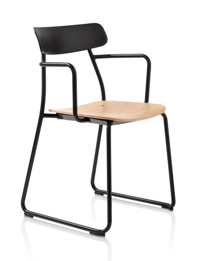 Orangebox Acorn Stacking Chair Black Frame Oak Veneer Seat - Front Angle View