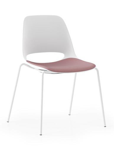 Boss Design Saint Chair With Upholstered Seat - 4 Leg Frame - White
