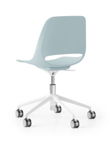 Boss Design Saint Chair - 5 Star Height Adj. Base - Light Blue Shell White Frame