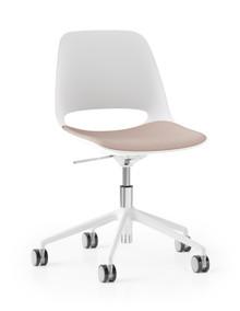 Boss Design Saint Chair - 5 Star Height Adj. Base - White Shell White Frame