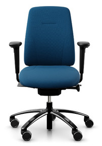 RH Logic 200 Ergonomic Task Chair - Blue / With Armrests / Black Base - Front