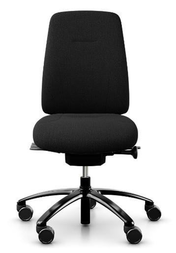 RH Logic 200 Ergonomic Task Chair - Black / Armless / Black Base - Front