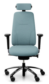 RH Logic 220 Ergonomic Task Chair - Light Blue / With Armrests & Neckrest / Black Base - Front