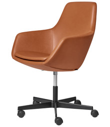 Fritz Hansen Little Giraffe Swivel Chair Walnut Leather