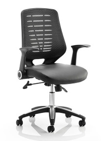 QUICK SHIP Dynamic Relay Mesh & Leather Task Chair - Black Mesh
